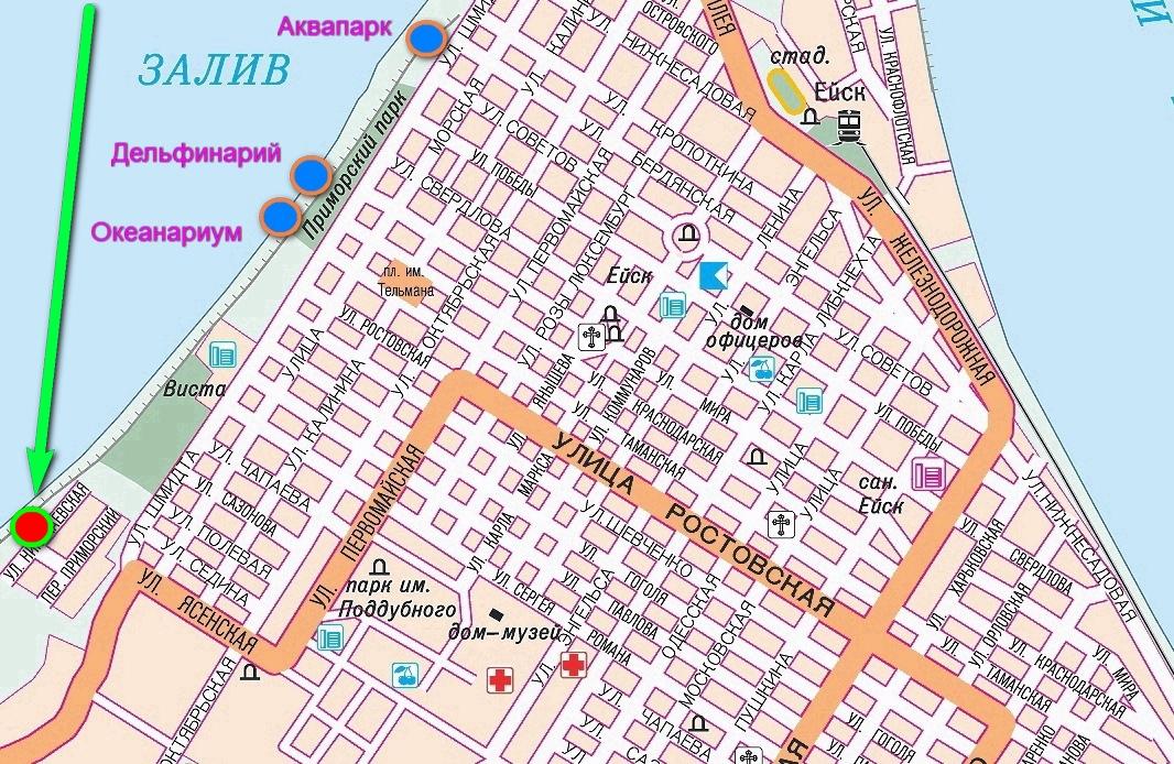 Пансионат Приморский на карте Ейска